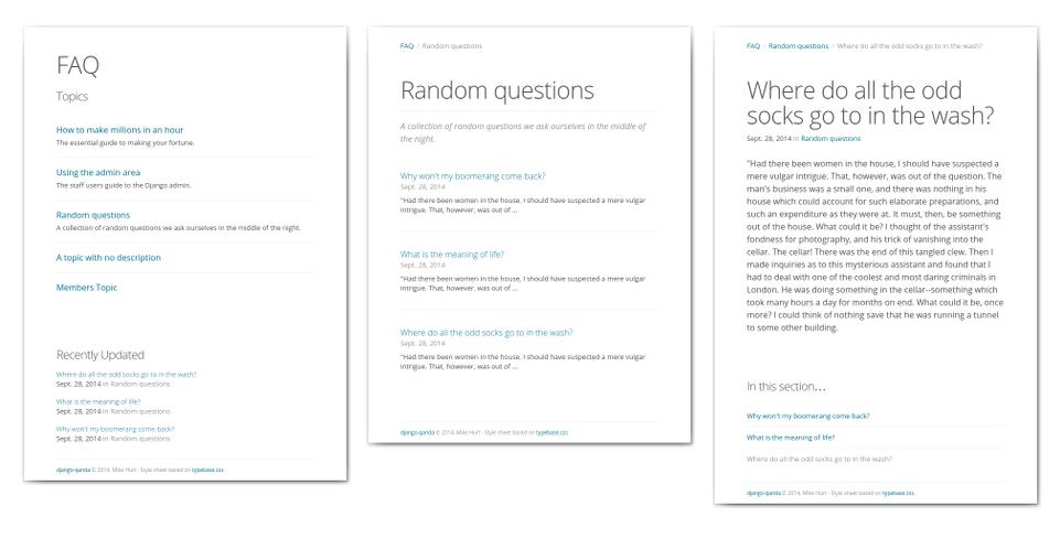 Screenshots of qanda default templates
